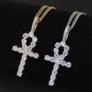 Mens Diamond Ankh Cross with 3mm Cuban Link Chain